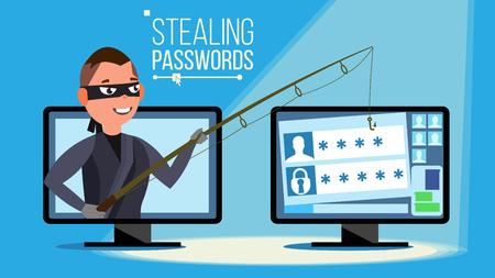 해킹 개념 벡터입니다. 신용 카드 정보, 개인 데이터, 돈을 훔치는 개인용 컴퓨터를 사용하는 해커. 플랫 만화 일러스트 레이션 스톡 콘텐츠 - 94700929