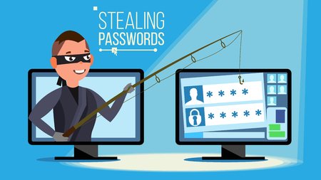 Hacking Concept Vector. Hacker Using Personal Computer Stealing Credit Card Information, Personal Data, Money. Flat Cartoon Illustration