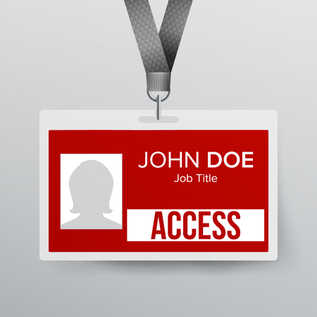 Lanyard Badge Vector. Identity Card For Security To Business Conference Realistic Illustration. Illustration