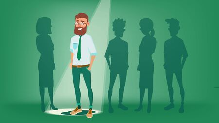 Man Stand Out From The Crowd Vector. Choosing Worker. Smiling Business Man. Standing Office Workers. Job And Staff, Human And Recruitment. Flat Illustration