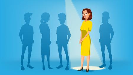 Frau stehen heraus vom Mengen-Vektor. Job und Personal, Mensch und Rekrutierung. Geschäftlicher Erfolg. Gute Idee, Unabhängigkeit, Führung. Flache Darstellung
