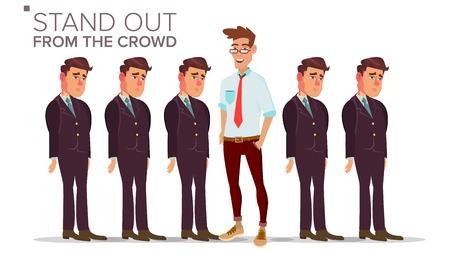 Homme se démarquer de la foule de vecteur. La réussite des entreprises. Bonne idée, indépendance, leadership. Illustration plate