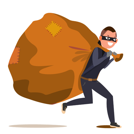 Bandit With Bag Vector. Isolated Flat Cartoon Character Illustration