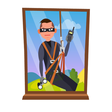 Thief And Window Vector. Breaking Into House Through Window. Insurance Concept. Burglar, Robber In Mask, Thief, Robbery, Purse. Isolated Flat Cartoon Illustration