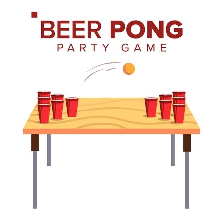 ビールポンゲームベクトル。アルコールパーティーゲーム。レッドカップと卓球ボール。分離フラットイラスト