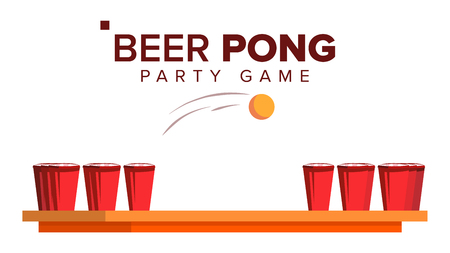 Beer Pong Game Vector. Alcohol Party Game. Red Cups On Table And Ball. Isolated Flat Illustration
