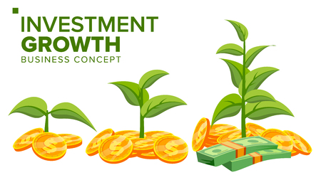 Business Growth Concept Vector. Plant From Money. Gold Coins. Success Company. Isolated Flat Cartoon Illustration