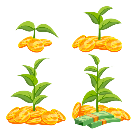 Business Growth Concept Vector. Tree Growing On Coins. Success Company. Stack Money Coins. Isolated Flat Cartoon Illustration