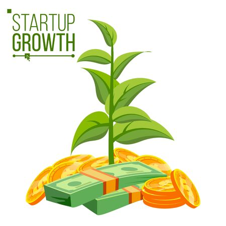 Startup Growth Concept Vector. Tree Growing On A Golden Coins. Growth Funds Economy Concept. Success Project. Isolated Flat Cartoon Illustration
