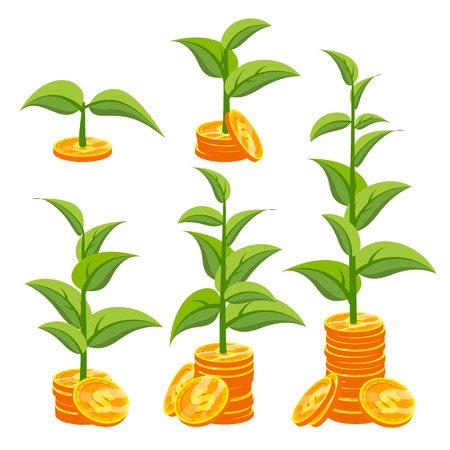 Startup Growth Concept Vector. Plant Growing In Savings Coins. Success Company. Isolated Flat Cartoon Illustration