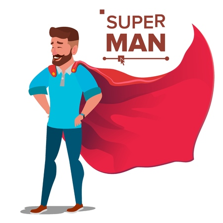 Super businessman character vector. Successful superhero businessman standing, young professional salesman, programmer. Office achievement victory concept waving red cape cartoon illustration.  イラスト・ベクター素材