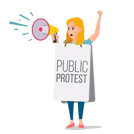 Frau, die durch Lautsprechervektor schreit. Weibliche Spracheleute der Führung im Streik. Demonstrationskonzept lokalisierte flache Karikaturillustration.