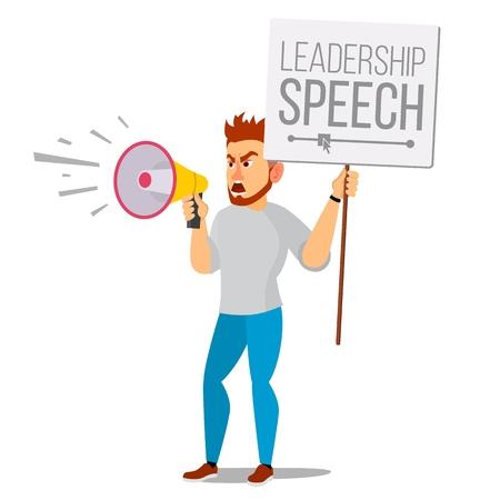 Man shouting through loud speaker vector. Leadership speech signs of disagreement. Loud announcement communicate concept isolated flat cartoon illustration. Illustration