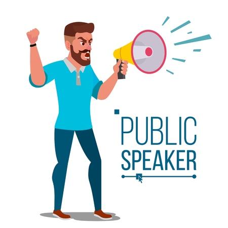 Man Shouting Through Loud Speaker Vector. Leadership Speech. Signs Of Disagreement. Loud Announcement. Communicate Concept. Isolated Flat Cartoon Illustration