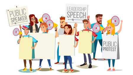 People shouting through megaphone vector. Public protest social activist loud announcement. Demonstration, protest, strike, speech concept isolated flat cartoon illustration.
