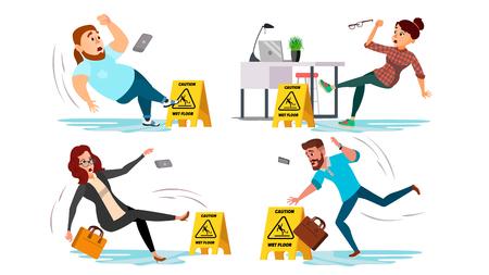 Uwaga wektor znak mokrej podłogi. Ludzie ślizgają się na mokrej podłodze. Sytuacja w biurze. Znak informujący o niebezpieczeństwie. Czysta mokra podłoga. Na białym tle ilustracja kreskówka płaskie Ilustracje wektorowe