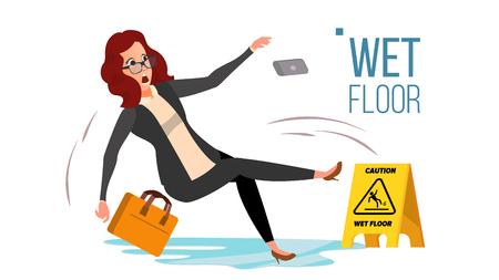 Frau gleitet auf nassem Boden-Vektor. Vorsicht Zeichen. Lokalisierte flache Zeichentrickfilm-Figur-Illustration Vektorgrafik