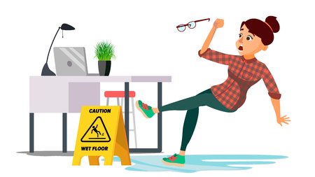 Woman Slips On Wet Floor Vector. Modern Business Woman In Office. Danger Situation. In Action. Clean Wet Floor. Isolated Flat Cartoon Character Illustration