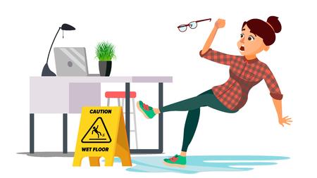 Femme glisse sur le vecteur de plancher humide. Femme d'affaires moderne au bureau. Situation de danger. En action. Nettoyer le sol mouillé. Illustration de personnage de dessin animé plat isolé