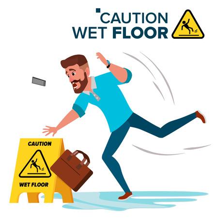 Man Slips On Wet Floor Vector. Modern Businessman. Situation In Office. Danger Sign. Clean Wet Floor. Isolated Flat Cartoon Character Illustration