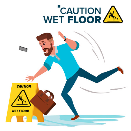 Man Slips On Wet Floor Vector. Modern Businessman. Situation In Office. Danger Sign. Clean Wet Floor. Isolated Flat Cartoon Character Illustration