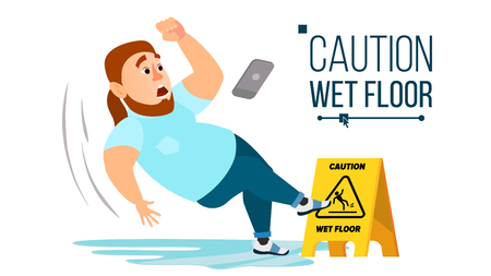 Man Slips On Wet Floor Vector. Caution Sign. Isolated Flat Cartoon Character Illustration