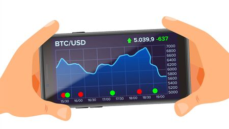 Bitcoin Application Web Charts Vector. Hand Holding Smartphone. Bitcoin Exchange App. Digital Money. Investment Concept.