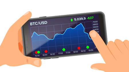 Bitcoin Application Vector. Hand Holding Smartphone. Bitcoin App with Graph, Trend, Diagram. Investment Concept. Trading Design Concept. Isolated Flat Illustration Иллюстрация