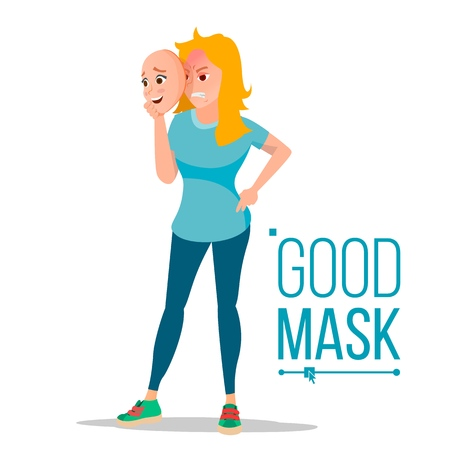 Angry Woman Wear Good Mask Vector. Bad, Tired Female. Fake Person. Deceive Concept. Isolated Flat Cartoon Business Character Illustration