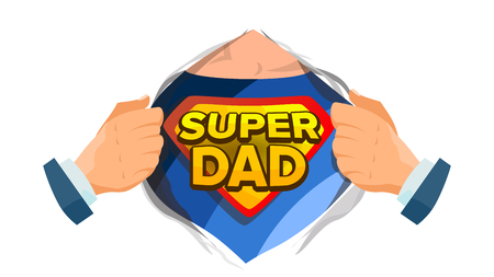 Super Dad Sign Vector. Father s Day. Superhero Open Shirt With Shield Badge. Isolated Flat Cartoon Comic Illustration