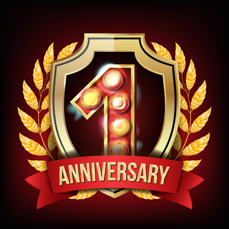 1 Anniversary Banner Vector. One Year Age, First Celebration. Shining Digit Sign. Gold Number One. Laurel Wreath. For Party Flyers, Cards Design. Illustration