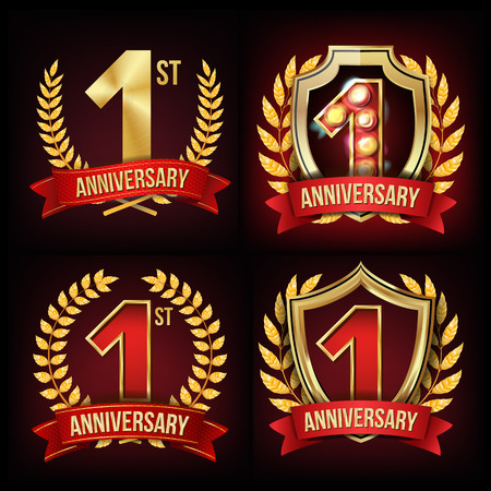 1 Year Anniversary Vector with golden wreath and red ribbon design