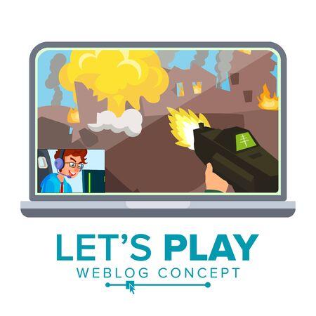 Let's Play weblog review concept vector design