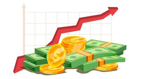 Pile Of Cash Vector. Red Rising Graph Concept. Business Growth. Investment Banking Financial Success. Isolated Flat Illustration