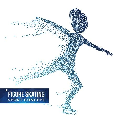 フィギュアスケートプレーヤーシルエットベクトル。