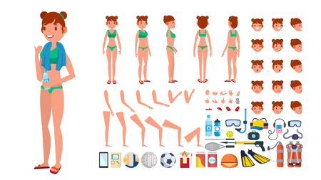 Woman in swimsuit vector. Animated female character in swimming bikini. Summer beach creation set. Full length, front side back view. poses, face emotions, gestures. Isolated flat cartoon illustration.