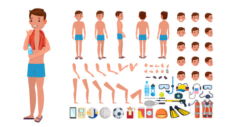 Man in swimsuit vector. Animated male character in swimming trunks. Summer beach creation set. Isolated flat cartoon illustration