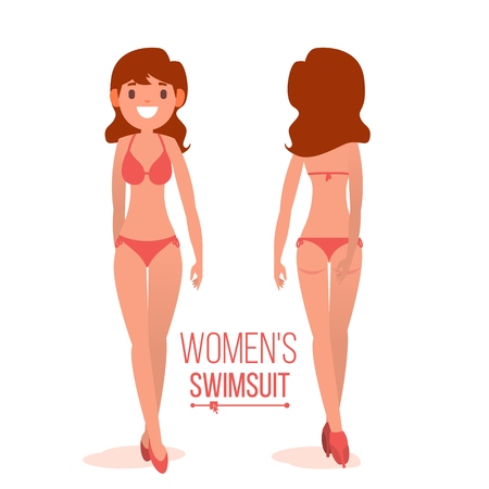 Women s Swimsuit Vector. Fashionable Swimsuit. Back And Front Side. Fashion Bikini. Isolated Flat Illustration