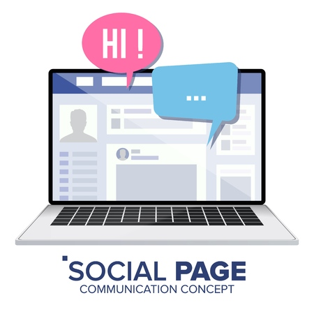 Social Page On Laptop With Speech Bubbles. Social Personal Profile Account Isolated Illustration.