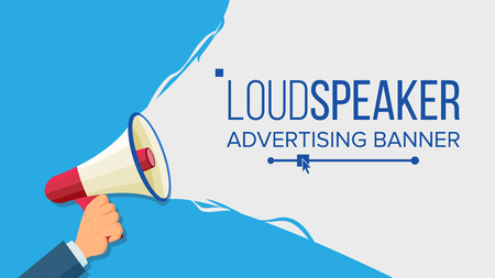 Loudspeaker In Hand Vector. Marketing Sign, Advertising. Social Media Marketing Concept. Flat Cartoon Illustration