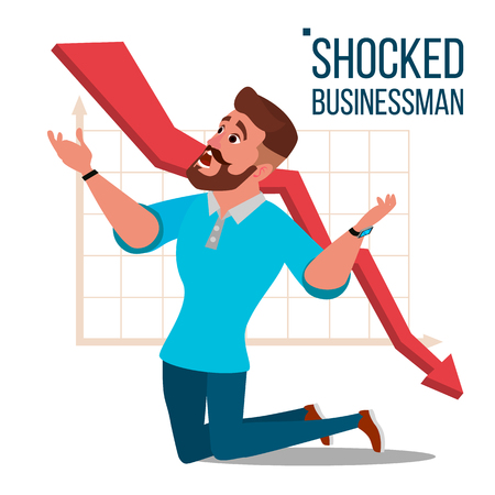 Sad shocked businessman vector. Losing money. Graph going down. Male standing on his knees. Isolated flat cartoon character illustration. Çizim