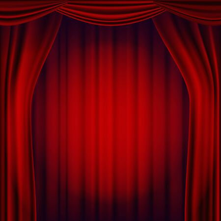 Red Theater Curtain Vector.