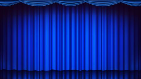 Blue Theater Curtain Vector. Illustration
