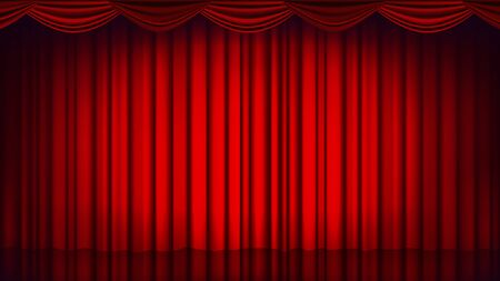 Red Theater Curtain Vector Çizim