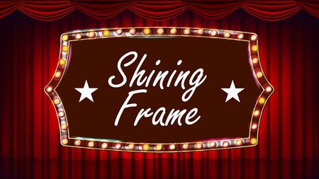 Theater Curtain, Frame Light Bulbs Vector.