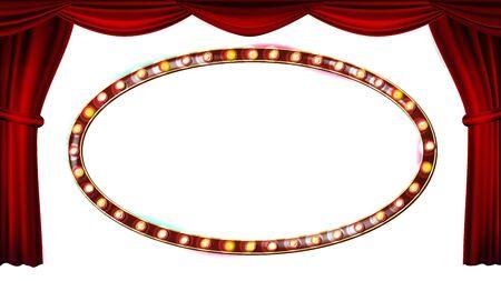 Gold Frame Light Bulbs Vector.