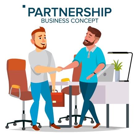 Two Businessmen closing a deal flat cartoon illustration