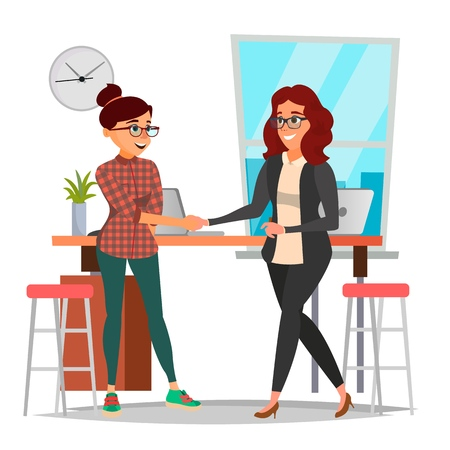 Business Partnership Concept Vector. Two Business Woman. Firmly Shaking Hands. Agreement Sign. Isolated Flat Cartoon Illustration