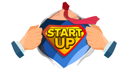 Startup Sign Vector. Superhero Open Shirt With Shield Badge. Business Start Up Sign. Isolated Flat Cartoon Comic Illustration