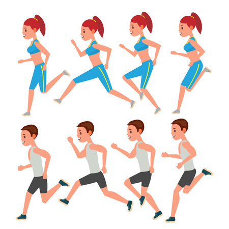 Male And Female Running Vector. Animation Frames Set. Sport Athlete Fitness Character. Marathon Road Race Runner. Woman Side View. Sportswear. Jogging Couple, Workout. Isolated Flat Illustration